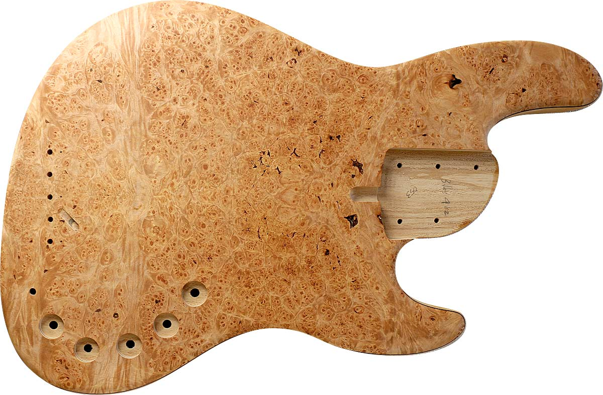 5-string bass body with Burl Maple top, ash body